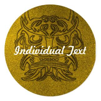 """Vicious Tribal Mask golden glimmer 004 5.25"""" Square Invitation Card"""