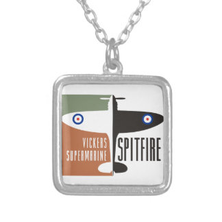 vickers supermarine spitfire square pendant necklace
