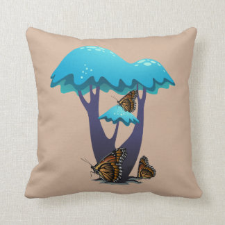 Victor Blue Mushrooms and Monarch Butterflies Cushion