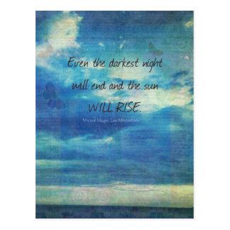 Victor Hugo, Les Miserables quote  inspirational Postcard