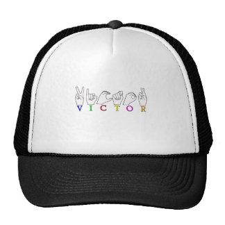 VICTOR NAME ASL FINGER SPELLED SIGN CAP