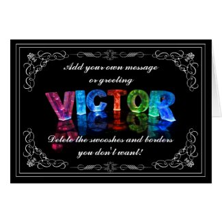 Victor - Name in Lights greeting card (Photo)