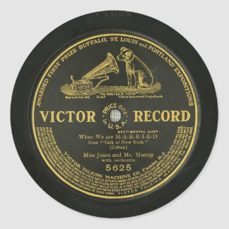 VICTOR RECORD Vintage phonograph record Round Stickers