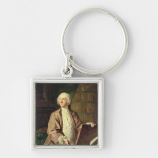 Victor Riquetti , Marquis of Mirabeau, 1743 Silver-Colored Square Key Ring