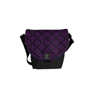 Victorain Purple Fractal Pattern Messenger Bag