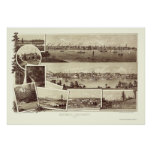 Victoria, BC, Canada Panoramic Map - 1884 Poster