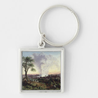 Victoria Falls at Sunrise, with 'The Smoke', or 'S Silver-Colored Square Key Ring