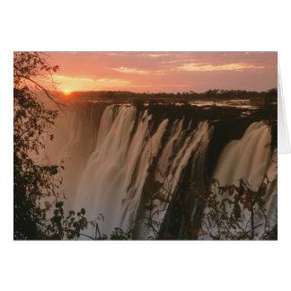 Victoria Falls with sun on horizon, Victoria Card