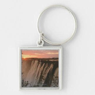 Victoria Falls with sun on horizon, Victoria Silver-Colored Square Key Ring