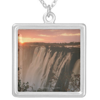 Victoria Falls with sun on horizon, Victoria Silver Plated Necklace