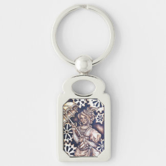Victoria Steampunk Rectangular Keychain Silver-Colored Rectangle Key Ring