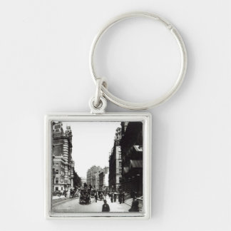 Victoria Street, London, c.1890 Silver-Colored Square Key Ring