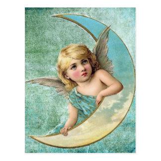 Victorian Angel and Moon Vintage Illustration Postcard