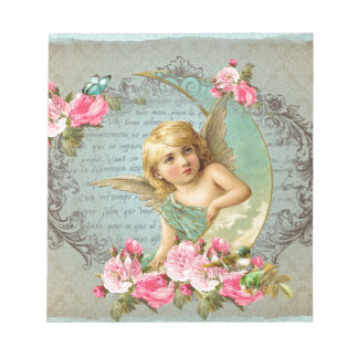 Victorian Angel vintage blue rose pink antique Notepad