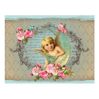 Victorian Angel vintage blue rose pink antique Postcard