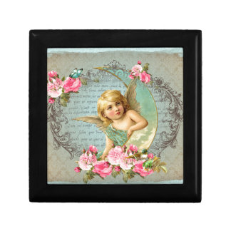 Victorian Angel vintage blue rose pink antique Small Square Gift Box