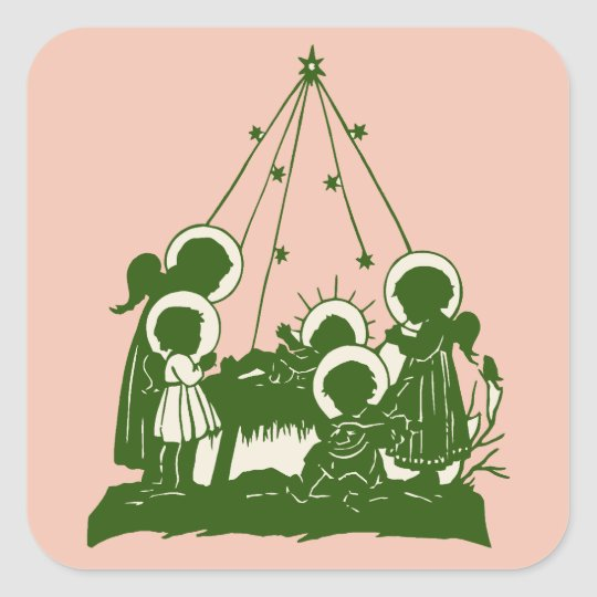 Victorian angels and Jesus silhouettes Square Sticker