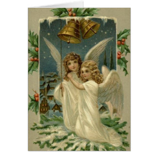 Victorian Angels Ringing Bells Christmas Card