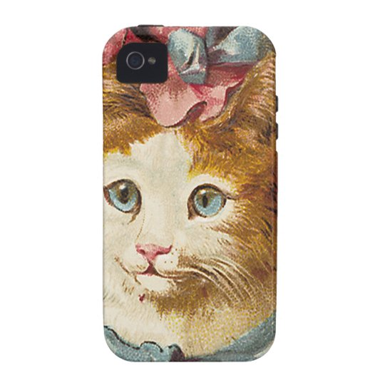 Victorian Aqua Blue Ribbons Cat Hat Case-Mate iPhone 4 Cover