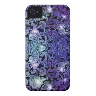 Victorian Arabesque, ALAMEDA - Navy & Purple iPhone 4 Case