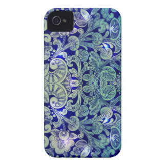 Victorian Arabesque, ALAMEDA - Navy & Sea Green iPhone 4 Case