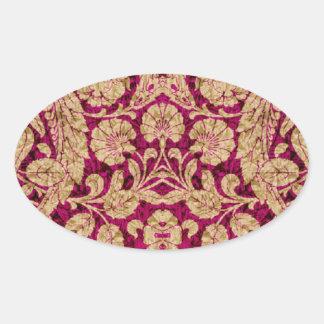 Victorian Arabesque, CANTARA - Burgundy & Tan Oval Sticker
