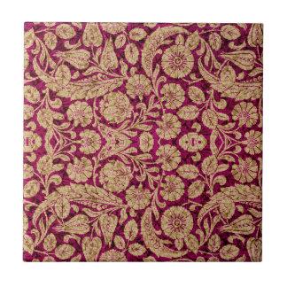 Victorian Arabesque, CANTARA - Burgundy & Tan Tile