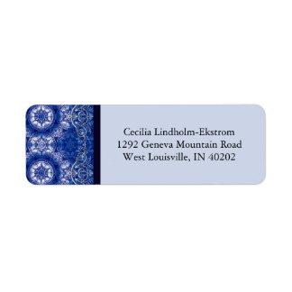 Victorian Arabesque, GLORIOSA in Blue & White Return Address Label