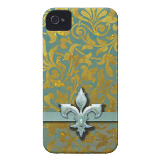 Victorian Arabesque, NOBLESSE - Aqua & Gold iPhone 4 Case-Mate Case