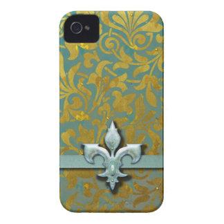 Victorian Arabesque, NOBLESSE - Aqua & Gold iPhone 4 Case-Mate Case