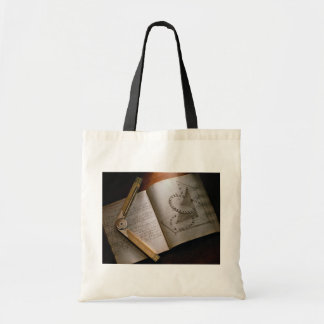 Victorian architect's calculus manual and ruler canvas bag