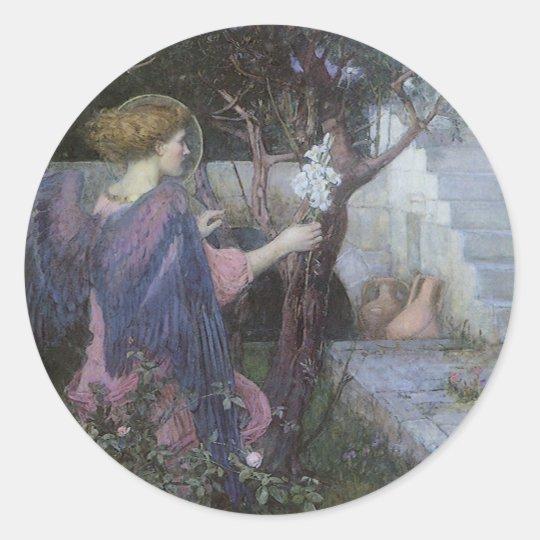 Victorian Art, Annunciation by JW Waterhouse Classic Round Sticker