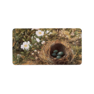 Victorian Art, Birds Nest and Dog Roses by JW Hill Address Label