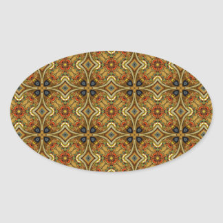 Victorian Art Deco Medieval Pattern Gold Design Oval Sticker