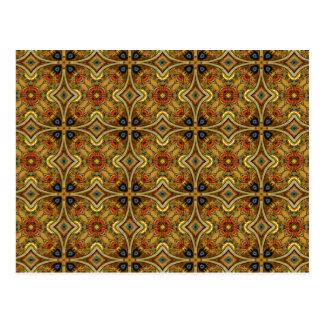 Victorian Art Deco Medieval Pattern Gold Design Postcard