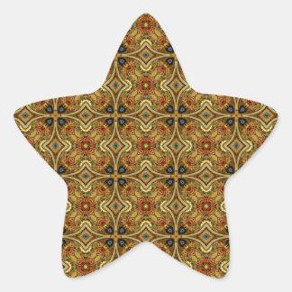 Victorian Art Deco Medieval Pattern Gold Design Star Stickers