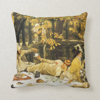 Victorian Art, Holyday, The Picnic by James Tissot Cushion