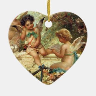 Victorian Art, Musician Angels by Hans Zatzka Ceramic Heart Decoration
