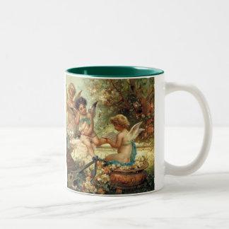 Victorian Art, Musician Angels by Hans Zatzka Two-Tone Mug