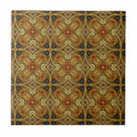 Victorian Art Nouveau Mediaeval Pattern Gold Small Square Tile