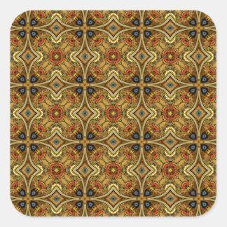 Victorian Art Nouveau Medieval Pattern Gold Design Square Sticker