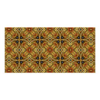 Victorian Art Nouveau Medieval Pattern Gold Picture Card