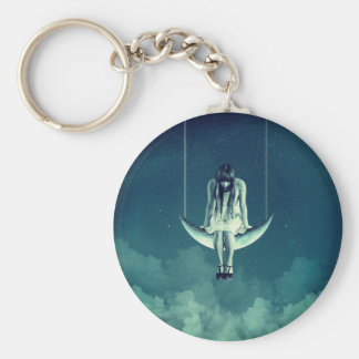 Victorian/art nouveau style girl on crescent moon key ring