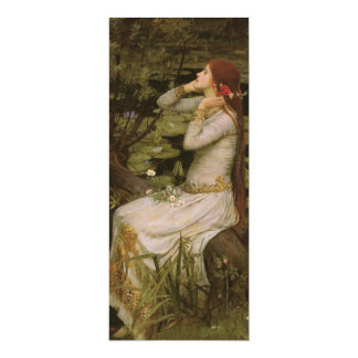 Victorian Art, Ophelia by the Pond by Waterhouse 10 Cm X 24 Cm Invitation Card