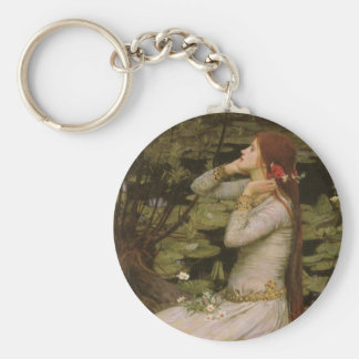Victorian Art, Ophelia by the Pond by Waterhouse Key Ring