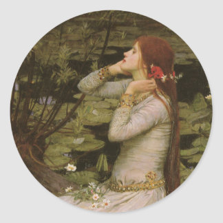 Victorian Art, Ophelia by the Pond by Waterhouse Round Sticker