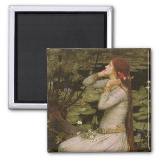 Victorian Art, Ophelia by the Pond by Waterhouse Square Magnet