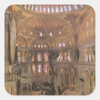 Victorian Art, Sketch of Santa Sophia by Sargent Square Sticker