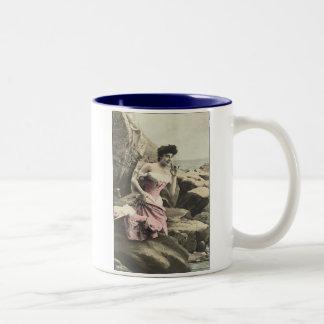 Victorian Bathing Beauty Two-Tone Coffee Mug