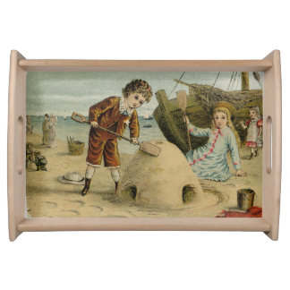 Victorian Beach Scene Serving Tray